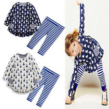 2pcs Kid Baby Girl Tops T-shirt+Pants Set Outfits Spring Autumn Trousers Clothes