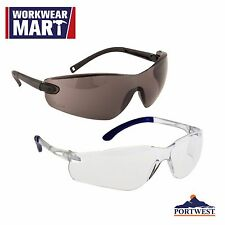 Safety Glasses Eye Protection Pan View Clear Black ANSI Z87, Portwest PW38