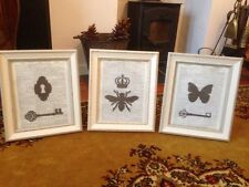 Vintage Shabby Chic Feature Wall Picture Frame Images Key Crown butterfly Bee x3