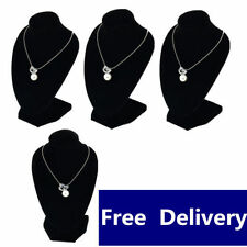 !4pcs x Jewellery Necklace Chain Display Bust Velvet Black Holder Stand @UK!W