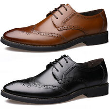 Fashion Leather Brogue Lace Up Formal Dress Shoes Oxfords Mens Casual Shoes Size