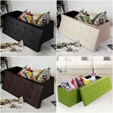 Leather Storage Ottoman Bench Bedroom Trunk Toy Hope Chest Seating Chair Table