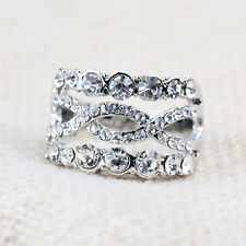 Fashion Women's Engagement Ring 18K White Gold Plated Jewelry Czech Crystal