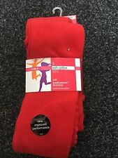 BNWT Marks and Spencers  Girls Red Soft Cotton Tights. x3. Age 4-14 Years