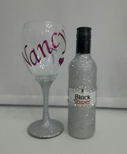Mothers Day Personalised Glitter Wine Glass Gift Set - name & gift wrapped