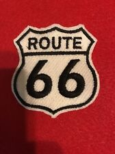 ROUTE 66 sew OnPATCH - Embroidered HIGHWAY ROAD SIGN HISTORIC EMBLEM US WHITE
