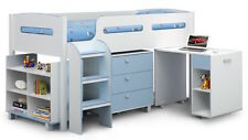 Blue or Pink Child Cabin Bed with Desk, Shelves and Drawers 3ft Storage