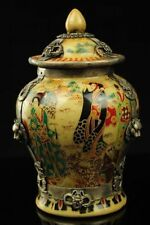 Collectible Decorated Old Porcelain & Tibet Silver Dragon Lady Traveling Pot