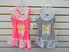 Infant & Toddler Girls Bonnie Jean Pink or Gray Butterfly Dress Size 12mo - 4T