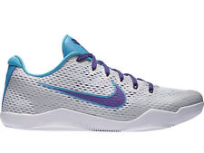 NEW MENS NIKE KOBE 11 LOW BASKETBALL SHOES TRAINERS WHITE / COURT PURPLE / BLUE