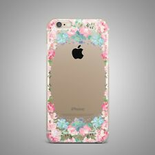Roses Floral Flower Design Soft TPU Rubber Silicone Clear Cover Case For iPhone