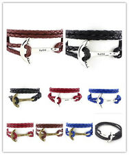 Hot 40cm Leather Men Bracelet Jewelry  Anchor Bracelet Wristband Charm Bracelet