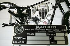 Matchless G11 G12 G50 G80 Silver Hawk etc plate engraved ready and free shipping