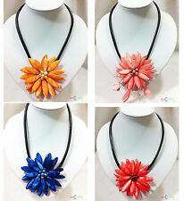 """D0063 17"""" Hand knit shell sun flower leather necklace"""