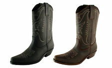 Men's Cowboy Western Boots Leather Size UK 5 6 7 8 9 10 11 12 Made in Spain