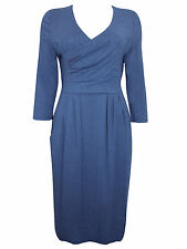BRAND NEW EX KALIKO BLUE DRAPE JERSEY DRESS WITH MOCK WRAP V-NECKLINE UK8- 18