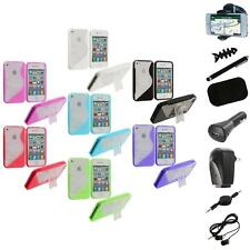 For iPhone 4 4G 4S Color Clear TPU Hybrid S-Line Case Cover Stand+8X Accessory