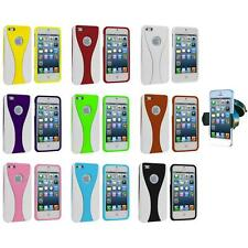 For iPhone 5 5S 5th Color White 3-Piece Hard Case Cover+Windshield Mount