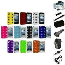 For Apple iPhone 5 5S 5th Basket Weave Hard Rubberized Case Cover+8X Accessory