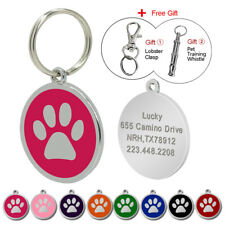Round Paw Print Dog Tags Disc Custom Pet Cat Collar Name ID Tags Engraved