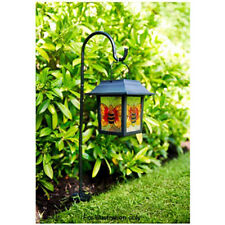 Stained Glass Hanging Lantern with Solar Light Leaf Hummingbird Bee Butterfly