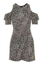 Topshop Animal Leopard Cold Open Shoulder Playsuit Dress UK 12 14 16 BNWT