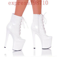 Women High Heel Platform Clubwear Dance Ankle Boots Lace Up Side Zip Party Shoes