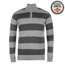 Lee Cooper Mens Quarter Zip Knit Stripe Jumper Grey/Charcoal New With Tags