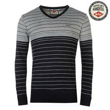 Lee Cooper Mens Stripe V Knit Jumper Grey/Navy New With Tags