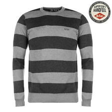 Lee Cooper Mens Stripe Crew Knit Jumper Grey/Charcoal New With Tags
