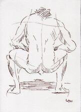 ORIGINAL  NUDE MALE  FIGURE  5x7 FINE ART PEN INK DRAWING/SKETCH PAINTING