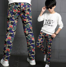 Kids Camouflage Trousers Boys Army Print Cargo Combat 100% Cotton Pants Age 4-14