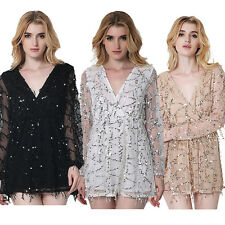New Sexy Women Evening Party Sequins Mini Dress Ladies Cocktail Short Jumpsuit
