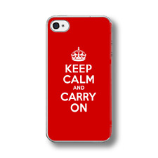 KEEP CALM AND CARRY ON RED Hard  Phone Case FITS IPHONE MODELS.
