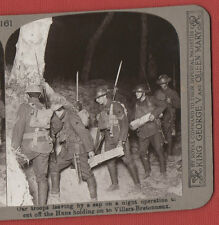 OUR TROOPS LEAVING BY A SAP ON A NIGHT OPERATION - W.W.1. VINTAGE STEREOVIEW.