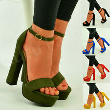 Womens Ladies Platform High Block Heel Strappy Sandals Ankle Strap Shoes Size Uk