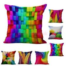 Colored Print Cotton Linen Throw Pillow Case Art Waist Cushion Cover Decor 6Type