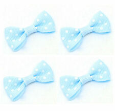 Blue Spotty Fabric Bows Embellishments for Crafts x 10