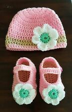 Handmade baby infant autumn winter flower Mary Jane booties WITH beanie set PINK