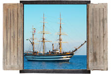 Wall Sticker Window 3D Decal Vinyl Ship pirate Sea Beach room decor home art