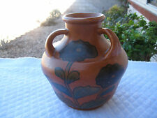 JAPAN ANTIQUE SIGNED CERAMIC RED CLAY POTTERY TERRACOTTA HAND PAINTED JAR/VASE