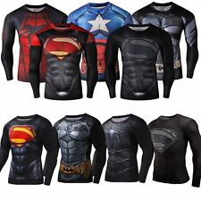 Men's Marvel Superhero Compression T-Shirt Long Sleeve Gym Sports Cycling Tops