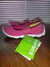CROCS~Womens Duet Busy Day MARY JANE Stretch Shoes~Pink White~Size 4W, 8W (Wide)