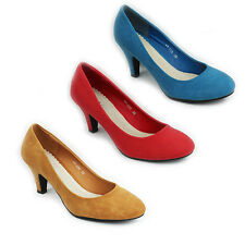 NEW WOMENS LADIES CASUAL MID HIGH STILETTO HEEL COURT SHOES SIZE 3-8