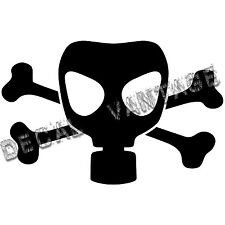 Gasmask with Crossbones Vinyl Sticker Decal  - Choose Size & Color