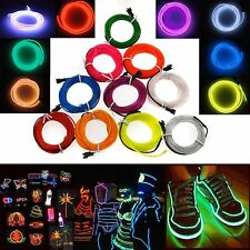 1M-5M Colorful Flexible EL Wire Tube Rope Neon Light Glow Car Party Decor 0@W