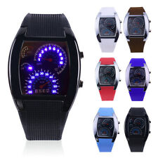 NEW Sports RPM Turbo Blue Flash LED Car Speed Meter Dial Men Gift Watch @W