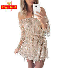 Sexy Off Shoulder Sequin Tassel Dress Summer Party Beach Backless Mini Dress