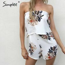 Simplee Floral Print Strapless Jumpsuit Romper Summer Beach Chiffon Playsuit