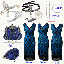 Ladies 20s Roaring 1920s Flapper Dress Sequin Bead Fringe Party Cocktail Costume